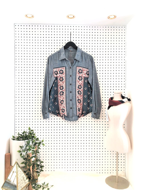 Free People Chambray/Print Button Down - Size Small