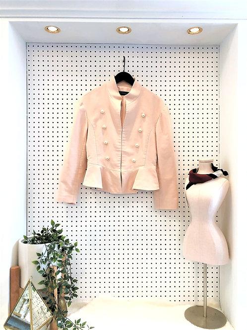 Zara Military Blazer with Pearl Button Details - Size Medium