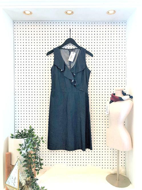 MEXX Faux Wrap Chambray Dress with Ruffle Neckline - Size 2