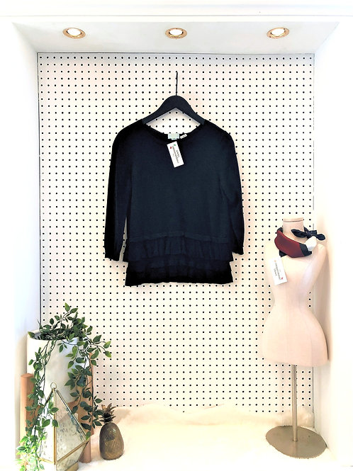CeCe By Cynthia Steffe Black Ruffled sweater