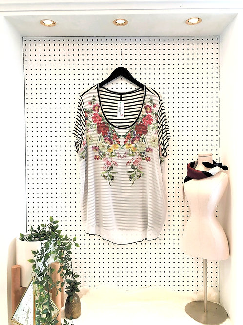 Edista Los Angeles T-Shirt with Floral Overlay - Size 2X