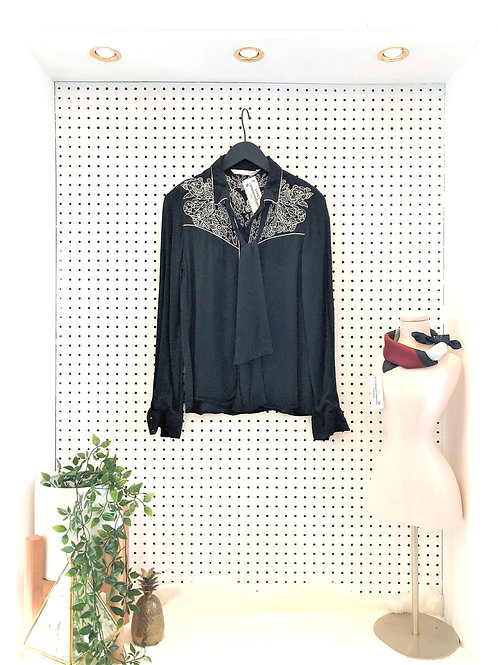 Zara Western Inspired Blouse with Tie Neck - Size Small