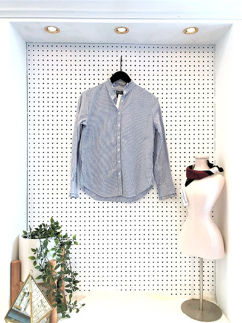 Lands End Oxford Button Down with Ruffle Details on Collar and Cuffs - Size 2