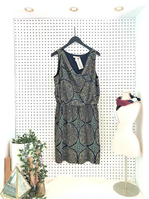 Banana Republic Print Dress, Elastic Waistband and Pockets - Size 12
