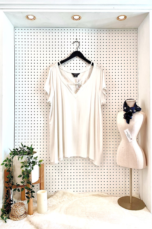 Michel Studio Tunic Tee With Neck Detail -Size 3X