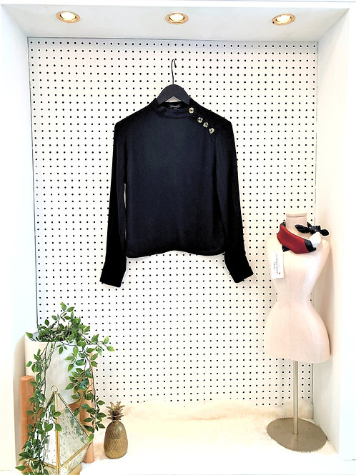 Dynamite Mock Neck Long Sleeve Blouse with Button Detail