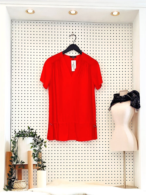 Yest Short Sleeved Blouse With Dropped Draw String Waist - Small/Med