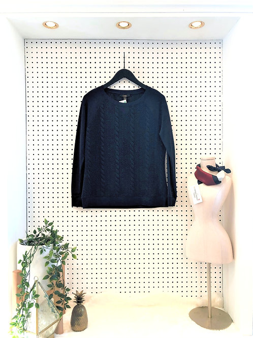 Dalia Cable Knit Jersey Blend Sweater