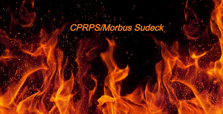 Flammen auf schwarzem Hintergrund und dem Schriftzug CRPS/Morbus Sudeck