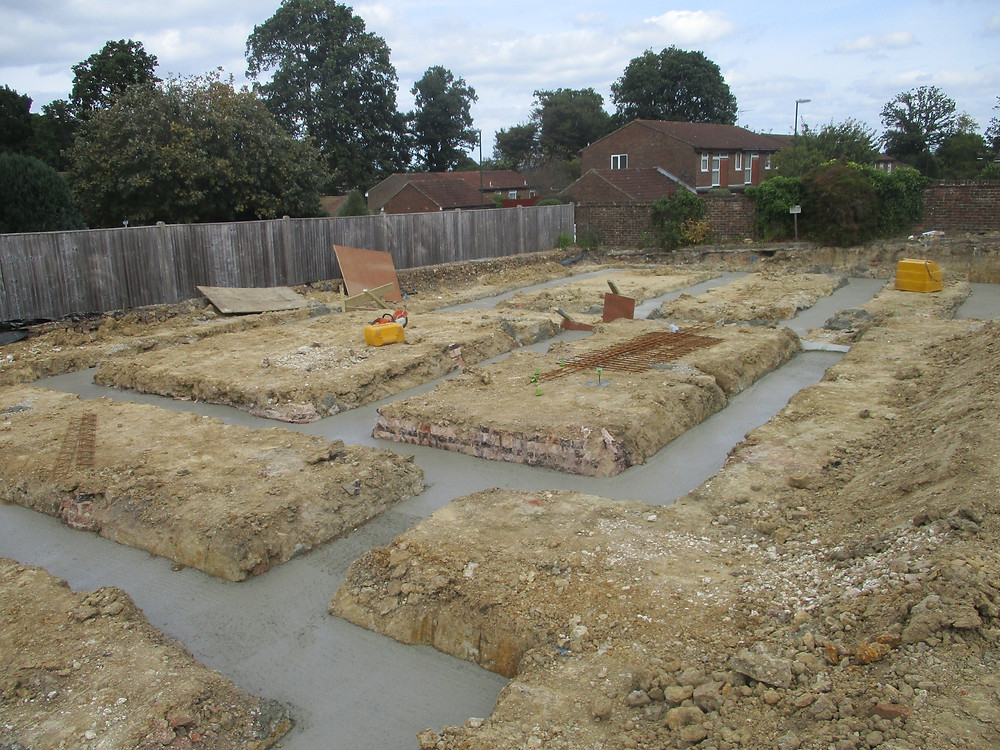 Concrete foundations complete for new apartment building