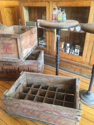 soda fountain stools and soda crates