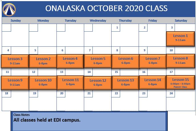 Oct Onalaska schedule
