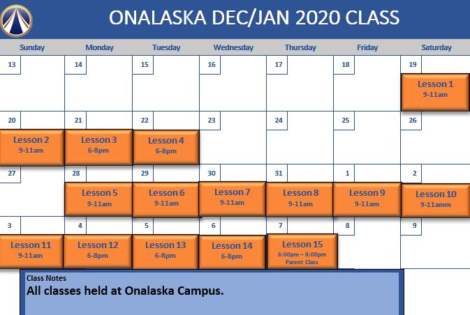 X-mass Onalaska schedule