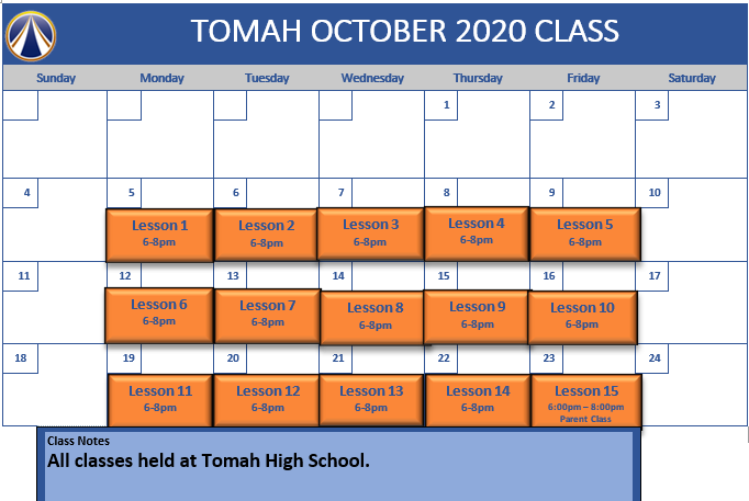 tomah Oct schedule