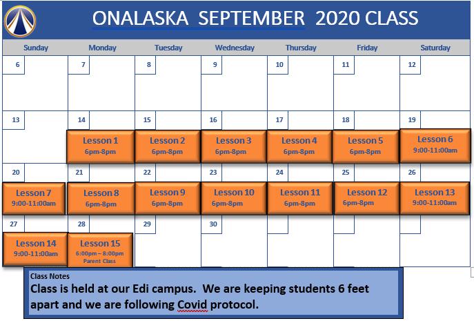 Sept Onalaska schedule