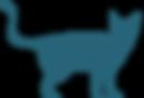 La silueta del gato azul