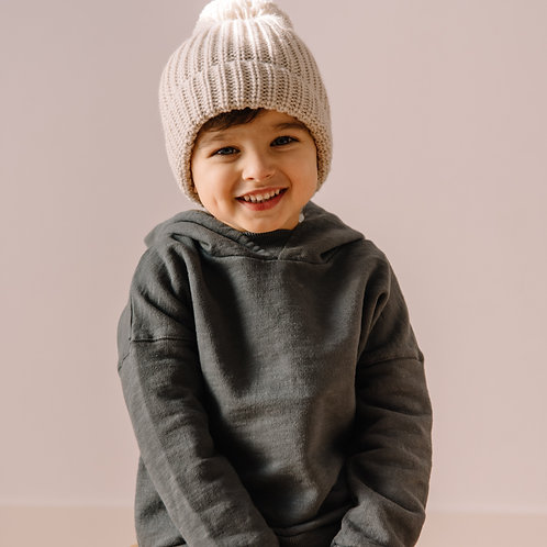 búho barcelona - Pom Pom Soft Knit Hat natural