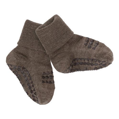 GoBabyGo - Rutschfeste Socken Wolle Brown Melange