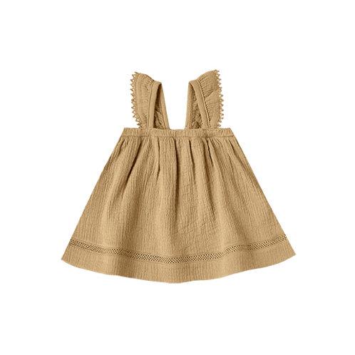 Quincy Mae - Woven Ruffle Tube Dress gold