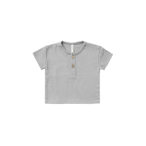 Quincy Mae - Woven Henry Top Periwinkle