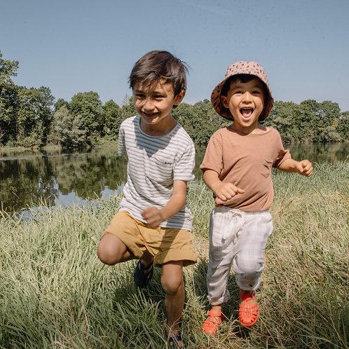 búho barcelona - Kids Cotton Linen T-Shirt Cocoa