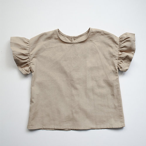 The Simple Folk - The Frill Linen Top Oatmeal