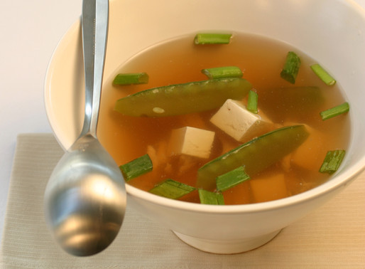 Miso Chicken Soup with Snow Peas and Tofu