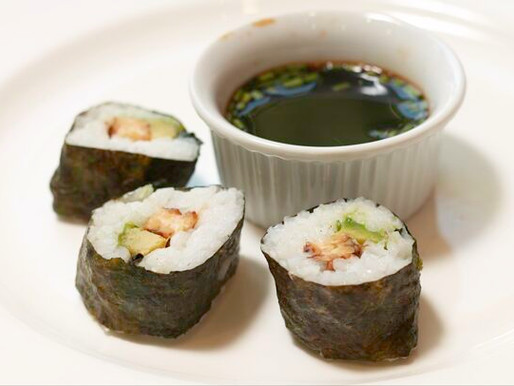 Tempeh Avocado Sushi Roll with Soy Dipping Sauce