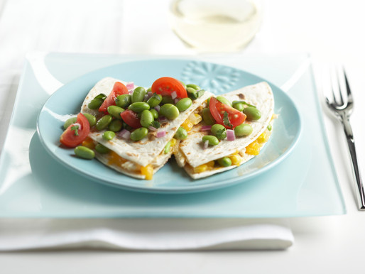 Chicken and Cheese Quesadillas with Edamame Salad Topping