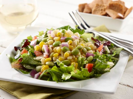 Edamame Corn Salad on top of Lettuce