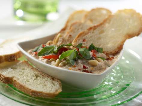 Tofu Dip with roasted red pepper, fresh basil, and pine nuts