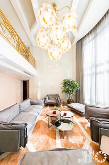 Villa interior and chandelier