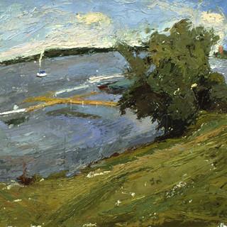09, Lake Chautauqua, oil on paper, 2000.