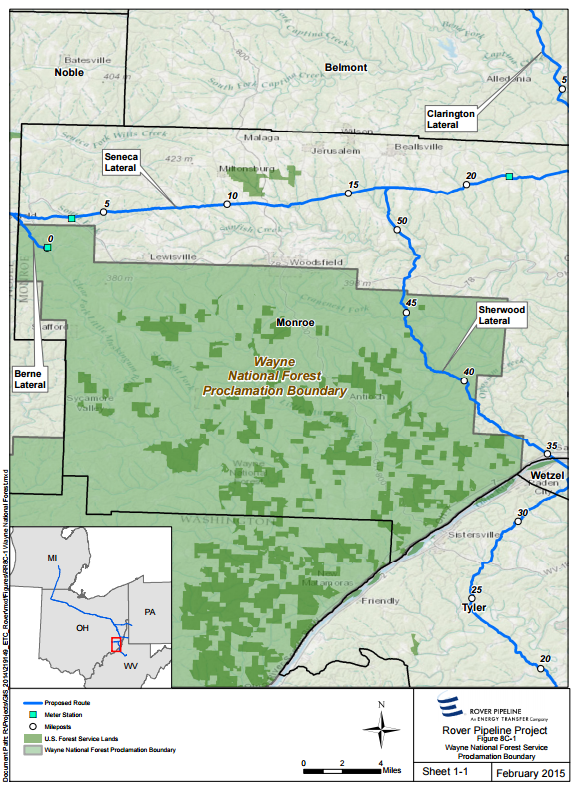 map of rover pipeline route through wayne national forest in ohio