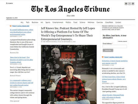 Jeff Knows Inc Podcast Host Jeff Lopes Featured In The Los Angeles Tribune Magazine.