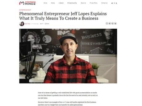 Jeff Lopes Featured in Entrepreneur Mindz magazine