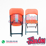 silla plegable reforzada con asiento y respaldo en plastico