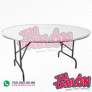 Mesa redonda de 150cm de diametro cubierta de fibra de vidrio