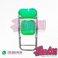 silla plegable cromada acojinada de color