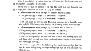 THÔNG BÁO V/V ĐIỀU CHỈNH THỜI GIAN THAM GIA THỰC TẬP HK2, NH 2020-2021