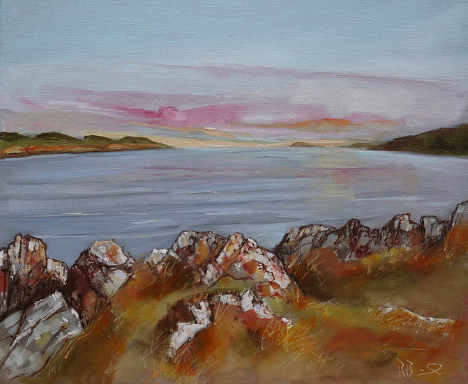 "R. Brinley  ""Evening light Kbt bay II "" 38 x 46 cm oil on canvas"