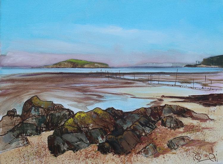"R. Brinley  ""Balcary Bay and Hestan Island"" 30 x 40cm oil on canvas"