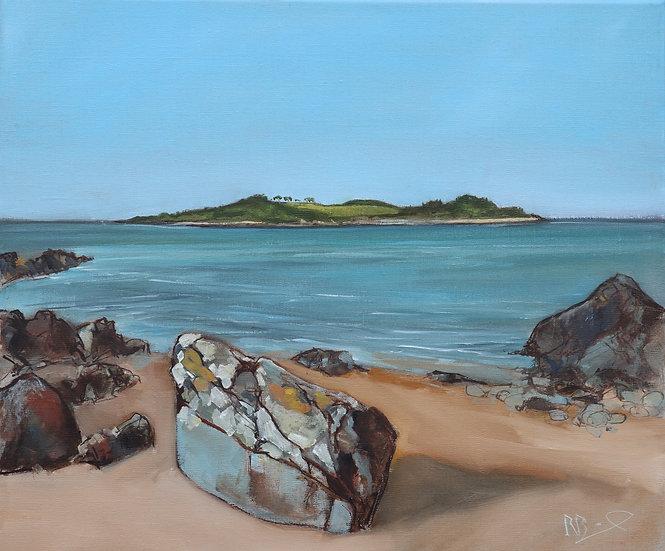 "R.Brinley  ""Ardwall Island from Carrick"" 46 x 55 cm oil on ca"