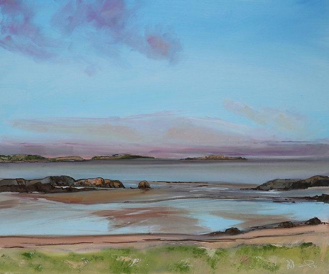 "R. Brinley  ""Evening light Newton Beach"" 50 x 60cm  oil on board"