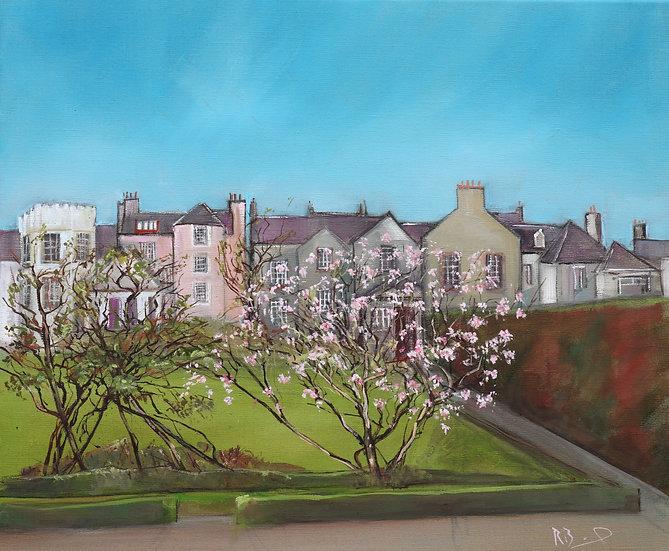 "R.Brinley  ""Spring , Broughton House Kirkcudbright"" 46 x 55 cm oil on canvas"