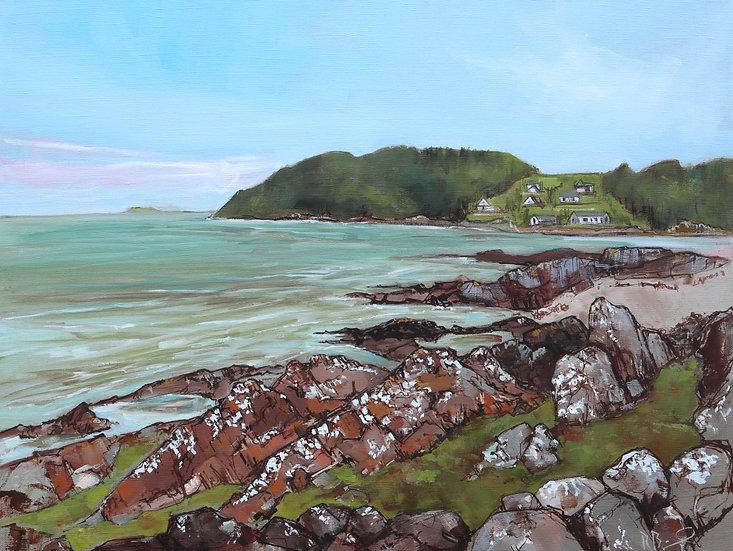 "R.Brinley  ""Rocky Cove, Dhoon Bay ""  50x65 cm oil on canvas"