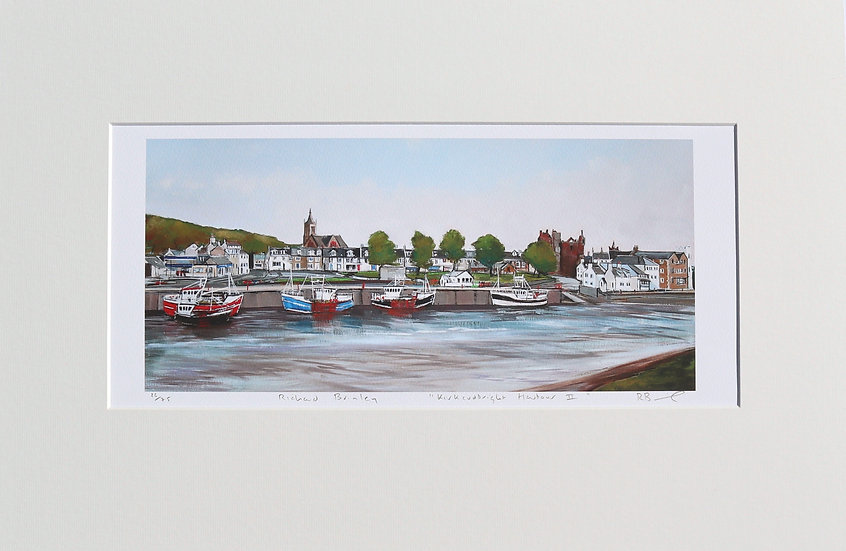 """""""Kirkcudbright Harbour 2 """" mounted limited edition print"""