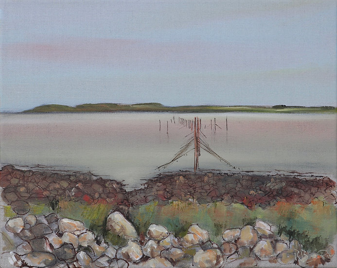 """R.Brinley """"Stake nets , Carsluith"""" 33cm x 41cm  , oil on stretched linen canvas"""
