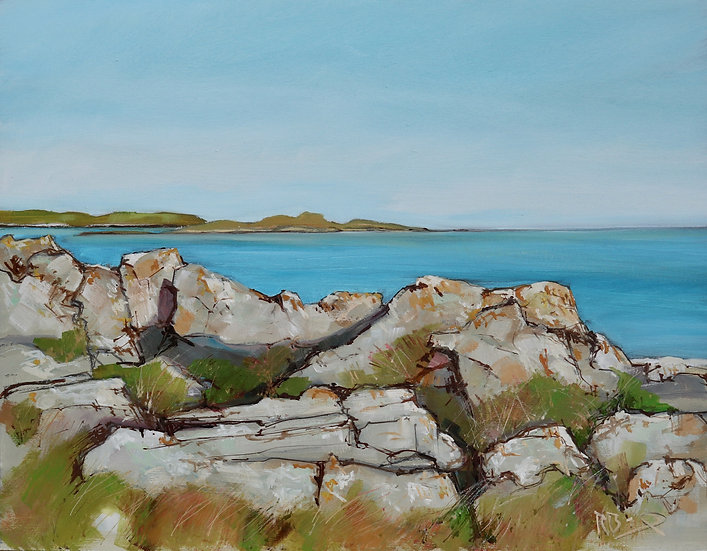 "Richard Brinley  ""Fleet Isles from Mossyard "" 30 x 40cm oil on board"