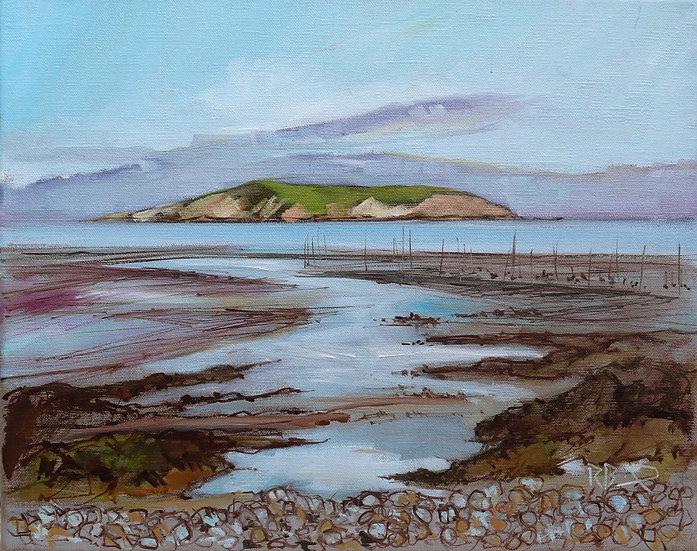 "R. Brinley  ""Hestan from Balcary Bay "" 33 x 41 cm oil on canvas"